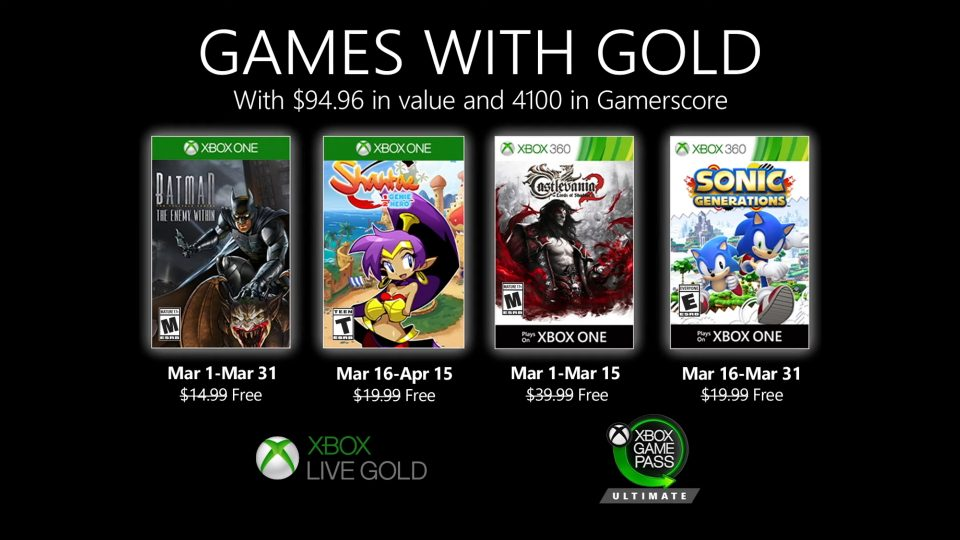 Games With Gold marzo