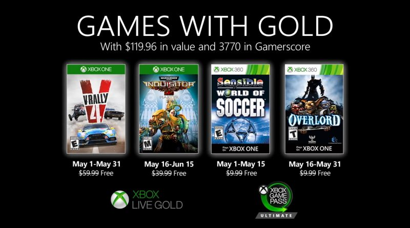 Xbox Games With Gold Maggio 2020