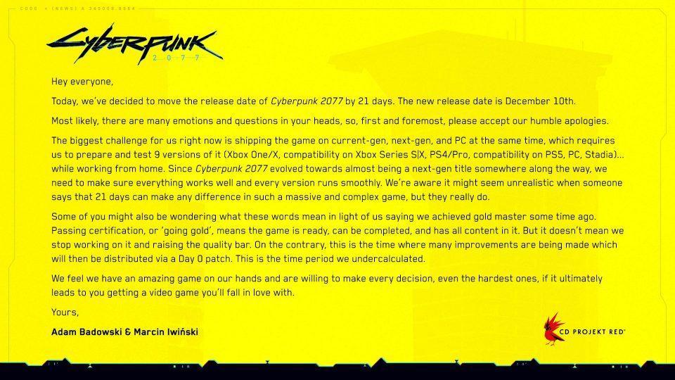 Cyberpunk 2077 rinviato nuovamente al 10 Dicembre 1