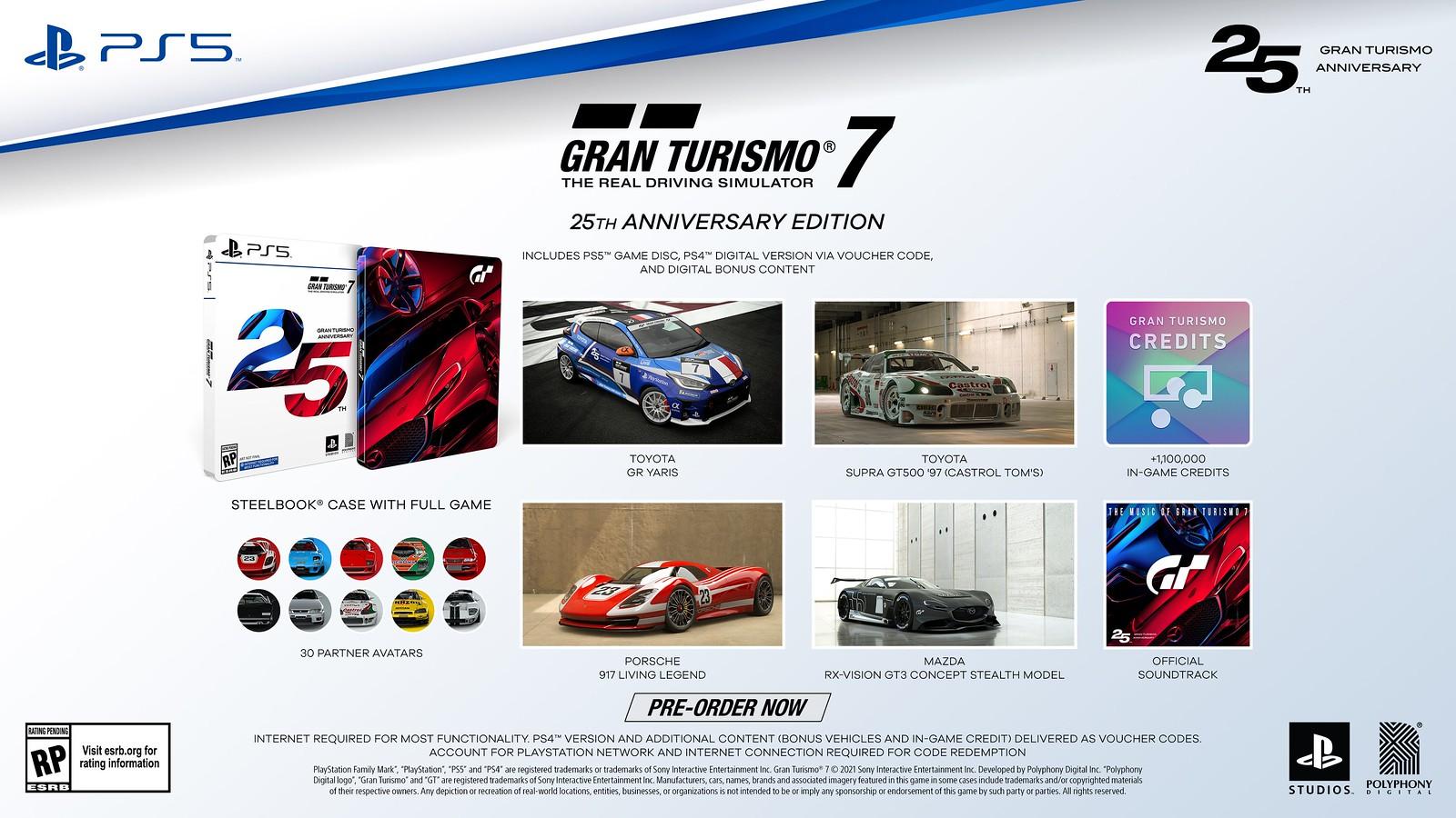 Gran Turismo 7, edizione del 25° anniversario e bonus pre-ordine 2